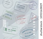 stamp pack travel seamless... | Shutterstock .eps vector #1053163829