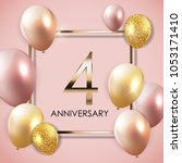 template 4 years anniversary... | Shutterstock .eps vector #1053171410