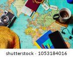 travel concept background with... | Shutterstock . vector #1053184016