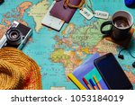 travel concept background with... | Shutterstock . vector #1053184019