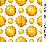 golden money buttons icons with ... | Shutterstock . vector #105318530