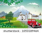 landscape fortress at the foot...   Shutterstock .eps vector #1053189464