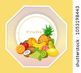 frame with fruits. vector... | Shutterstock .eps vector #1053198443
