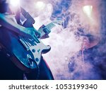 performance of the rock band.... | Shutterstock . vector #1053199340