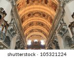 SALZBURG - APRIL 15: The palate of the main nave of Salzburger Dom bears paintings by Donato Mascagni and Ignazio Solari, showing scenes from life and passion of Christ. April 15, Salzburg, Austria. - stock photo