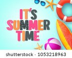it's summer time background... | Shutterstock .eps vector #1053218963