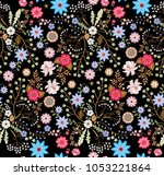 seamless floral pattern with... | Shutterstock .eps vector #1053221864