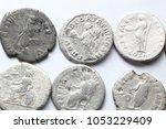roman denarius on white... | Shutterstock . vector #1053229409