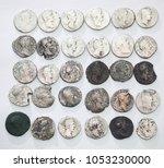 roman denarius on white... | Shutterstock . vector #1053230000