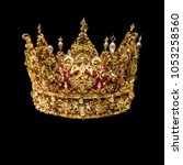 Golden Crown With Gems Isolated ...