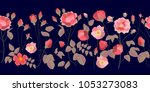 wide border with bloomig roses. ... | Shutterstock .eps vector #1053273083