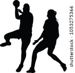 handball girl player silhouette | Shutterstock .eps vector #1053275366