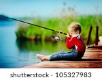 lonely little child fishing... | Shutterstock . vector #105327983