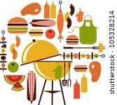 set of bbq objects | Shutterstock .eps vector #105328214