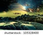 alien planet with moons and...   Shutterstock . vector #105328400