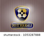 gold shiny badge with... | Shutterstock .eps vector #1053287888