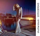 attractive blonde beauty posing ... | Shutterstock . vector #1053289043