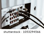 hdmi cable connected to back of ... | Shutterstock . vector #1053294566