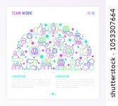 teamwork concept in half circle ... | Shutterstock .eps vector #1053307664