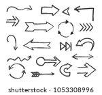set of hand drawn arrows.vector ... | Shutterstock .eps vector #1053308996