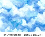 hand painted blue sky and... | Shutterstock . vector #1053310124