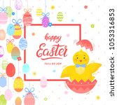 easter typography. happy easter ... | Shutterstock .eps vector #1053316853