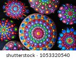 mandala dot painting colorful... | Shutterstock . vector #1053320540