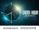 earth hour. futuristic planet...   Shutterstock .eps vector #1053325238