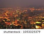 hong kong landscape from lion... | Shutterstock . vector #1053325379