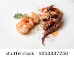 top view of grilled shrimps and ... | Shutterstock . vector #1053337250
