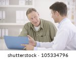 doctor talking to mature male... | Shutterstock . vector #105334796