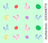 easter eggs and bunny background | Shutterstock .eps vector #1053348773