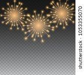 glossy fireworks background... | Shutterstock .eps vector #1053355070
