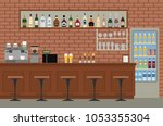 empty bar interior. pub with... | Shutterstock .eps vector #1053355304