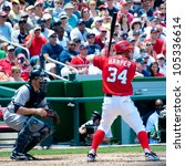 Small photo of WASHINGTON - JUNE 16: Bryce Harper at bat during the sold-out Washington Nationals -New York Yankees game, which the Yankees won after 14 innings of play, on June 16, 2012 in Washington, D.C.