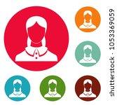 new female avatar icons circle...