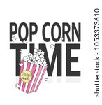 pop corn and slogan vector... | Shutterstock .eps vector #1053373610
