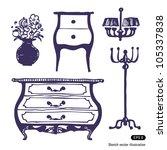 furniture set. hand drawn... | Shutterstock .eps vector #105337838