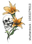 skull with yellow orchids drawn ... | Shutterstock .eps vector #1053379013