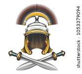 roman empire centurion helmet... | Shutterstock .eps vector #1053379094