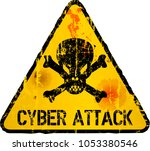 cyber attack warning sign ...   Shutterstock .eps vector #1053380546