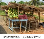 fruits and vegetables on... | Shutterstock . vector #1053391940