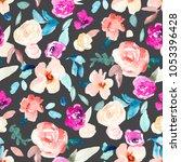modern watercolor flowers... | Shutterstock . vector #1053396428