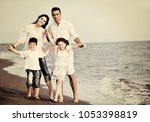 happy young family have fun and ... | Shutterstock . vector #1053398819