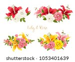 rose and lily set. vector card. | Shutterstock .eps vector #1053401639