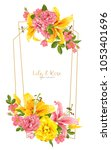 rose and lily wedding invittion.... | Shutterstock .eps vector #1053401696