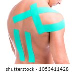 muscular man with adhesive tape ... | Shutterstock . vector #1053411428