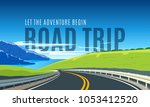 turning highway in the... | Shutterstock .eps vector #1053412520