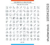 medical and healthcare icons... | Shutterstock .eps vector #1053412523