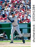 Small photo of WASHINGTON - JUNE 16: Yankee Derek Jeter at bat during the sold-out Washington Nationals - New York Yankees game, which the Yankees won after 14 innings of play, on June 16, 2012 in Washington, D.C.